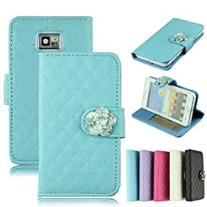 Voberry Deluxe Camellia Wallet Type Flip/Folio Leather Stand Protetive Case Cover for Samsung Galaxy S2 i9100