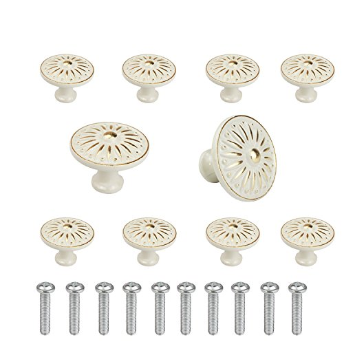 (WeiMeet Cabinet Knob, 10Pcs 35mm Single Hole Ceramic knob Dresser Cupboard Cabinet Drawer Knobs Wardrobe Door Pull Handle for Home Office)