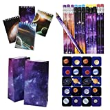 3 Dozen (36) GALAXY - OUTER Space PARTY FAVORS - 12 ea - PENCILS - Mini NOTEBOOKS & Goody BAGS - Plus - Bonus Sheet of 20 PLANET Stickers - Science - PLANET SOLAR SYSTEM Classroom TEACHER Rewards