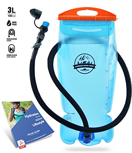 PIONEER BEAR CAMP Hydration Bladder 2l Water Reservoir Leak Proof Hydration Pack BPA Free Quick Release Insulated Tube & Shutoff Valve Best Hydration Reservoir Hiking Camping Running Biking