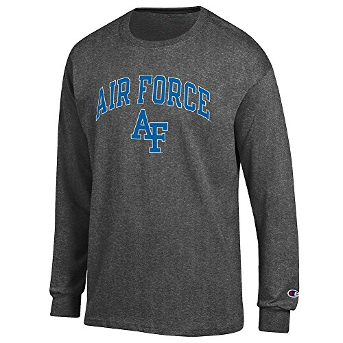 - Elite Fan Air Force Falcons Men's Long Sleeve Arch Tee Shirt, Dark Heather, Medium