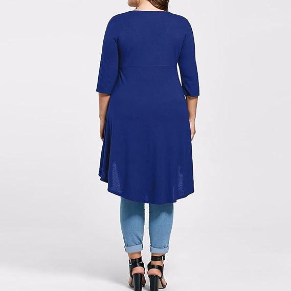 blusas sexys de mujer tallas grandes, Top de manga tres cuartos de alto bajo de blusas de mujer elegantes de fiesta Camisetas de Baratas EN Oferta 2018: ...