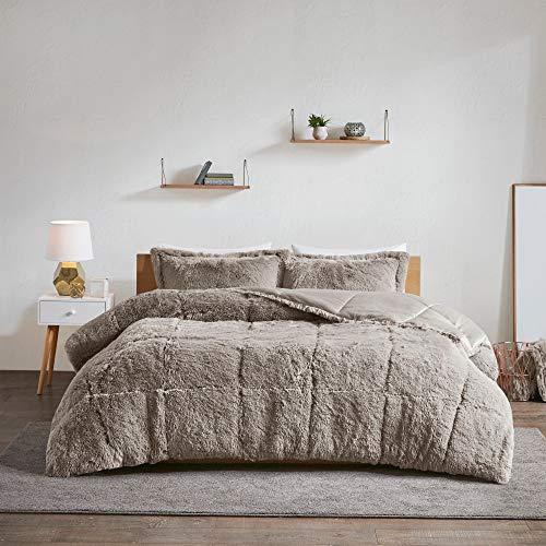 (3 Piece Gray Faux Fur Comforter King/Cal King Set Micromink Bedding Soft Plush Velvet Fluffy Comfy Cozy Mink Heavyweight Reversible, Microfiber)