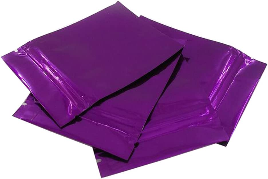100PCS Thicken Double-Sided Metallic Mylar Foil Self Sealing Flat Bag Zipper Pouch Food Grade Sample Packing Storage Holder Container for Cosmetic Tea Powder (Purple, 100mm x 150mm)