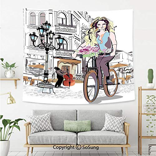 Fashion House Decor Wall Tapestry,Girl with Bike and Roses in a Street Old Town Musician Romantic Tour in City,Bedroom Living Room Dorm Wall Hanging,80X60 Inches,Pink