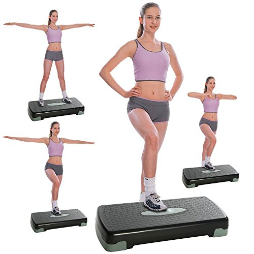 Indoors Outdoors Aerobic Exercise Fitness Workout Stepper Adjustable Non-Skid Step Trainer With 2 Additional Risers