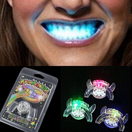 Baring 5 PCS Second Generation Flashing Mouth LED Mouthpieces Halloween Rave Party Teeth Braces Glow in The Dark Mouth Guard]()