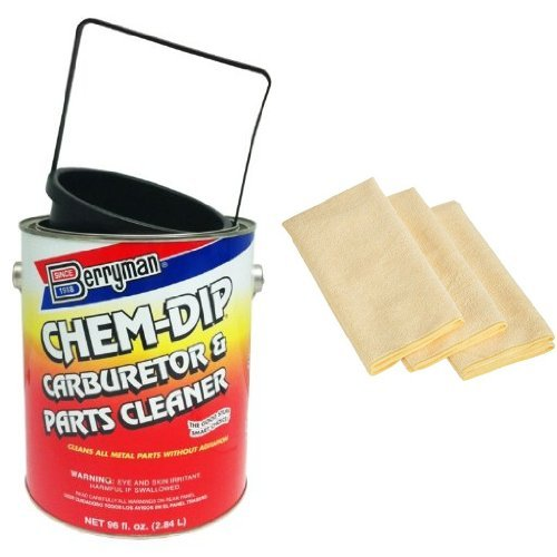 Berryman 0996 Chem-Dip Carburetor and Part Cleaner - 0.75 Gallon with 3 AmazonBasics Thick Microfiber Cleaning Cloths