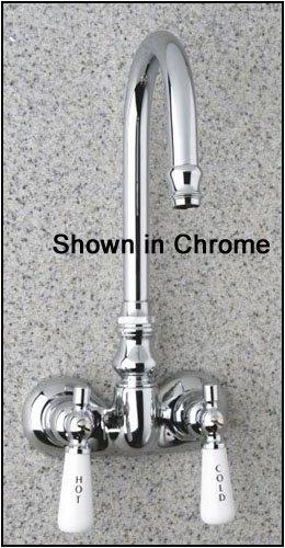 Satin Nickel Gooseneck Clawfoot Tub Filler Faucet with Porcelain Lever Handles -  Barclay, 4052-PL-SN