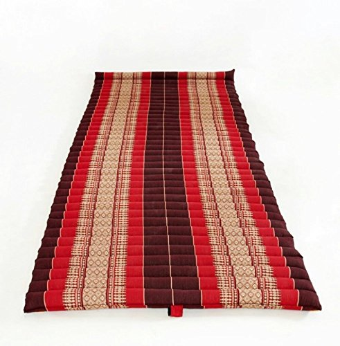 Thailand: Large Roll Up Thai Mattress, Size 69x30x2 inches, Red, black, Elephant Thai Pattern. #010 by Conserve Brand (Image #2)