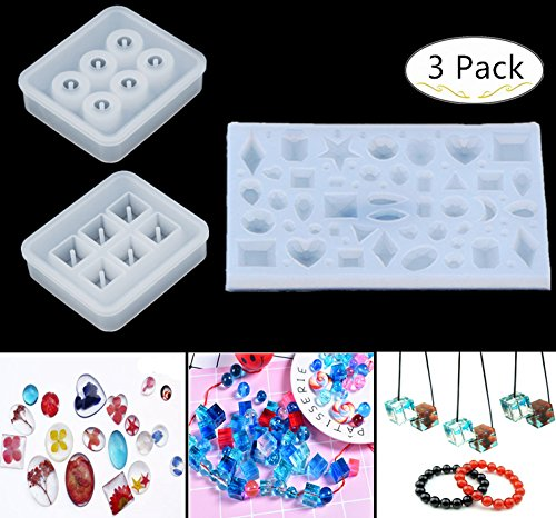 3 Pack Silicone Jewelry Casting Molds, Carnatory Resin Casting Molds Pendant Necklace Making Silicone Molds for Jewelry Craft Making, Polymer Clay, Resin Epoxy Making