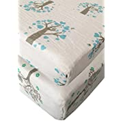Seben Baby Crib Sheet 2 Pack - 100% Cotton Muslin - Unisex for Boys and Girls (Tree Owl Bird)