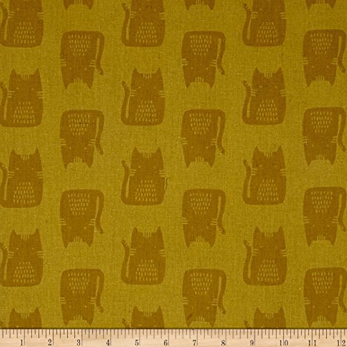 (Andover Maker Maker Linen Blend Cats Yellow Fabric by The)