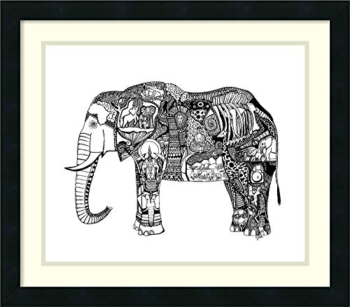 Framed Wall Art Print | Home Wall Decor Art Prints | Goodbye Elephant by Liz Ash | Modern ()