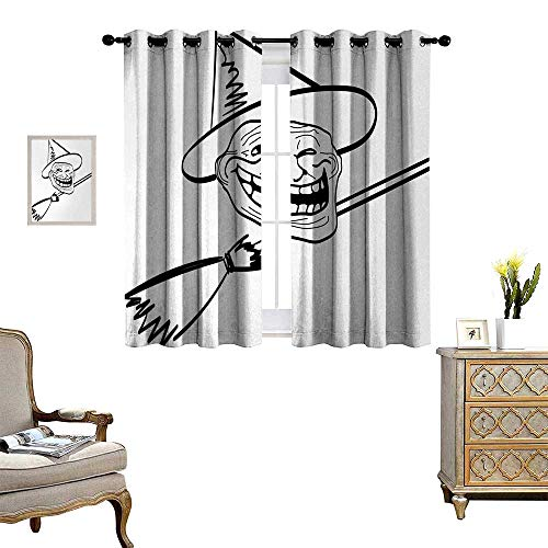 Anyangeight Humor Waterproof Window Curtain Halloween Spirit Themed Witch Guy Meme LOL Joy Spooky Avatar Artful Image Print Blackout Draperies for Bedroom W72 x L72 Black and White]()