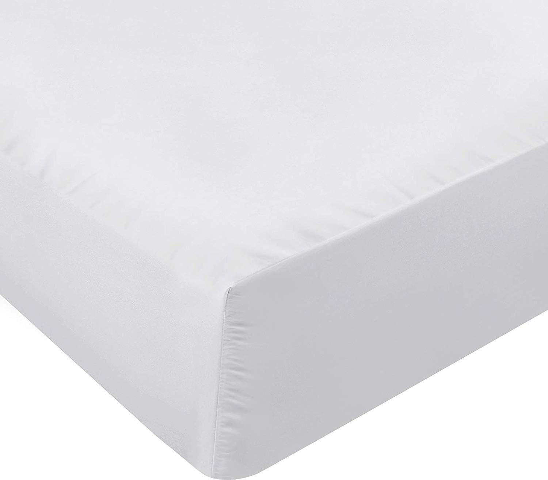 Utopia Bedding Sábana Bajera Ajustable - Bolsillo Profundo - Microfibra Cepillada - (Blanco, 160 x 200 cm)