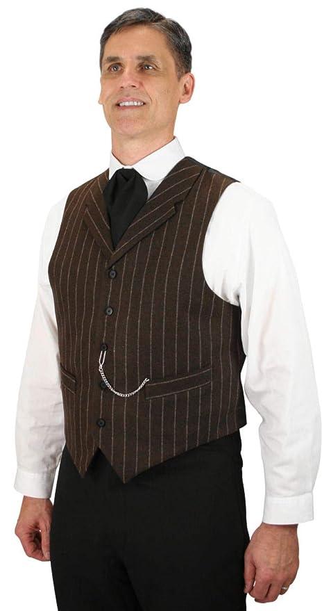 Men's Vintage Vests, Sweater Vests Historical Emporium Mens Wool Blend Bosworth Pinstripe Dress Vest $72.95 AT vintagedancer.com