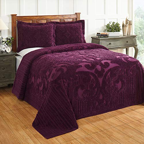 Better Trends Ashton Collection Bedspread, King, Plum (Plum King Bedspread)