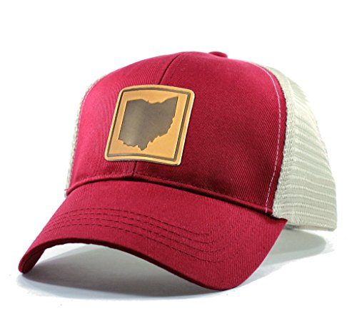 Homeland Tees Men's Ohio Leather Patch Trucker Hat - Red