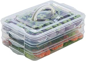 TIAN CHEN Refrigerator Organizer Bins, Plastic Food Storage Containers with Lids, 3-Layer, BPA free, Stackable Food Organizer Keeper for Snack, Vegetables, Meat, Fish (Transparent)