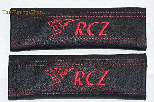 2x Seat Belt Covers Pads Black Leather Red Stitch Embroidery RCZ