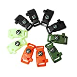 10pcs Pack Mix Colors 5/8'' Compass Flint Scraper Fire Starter Whistle Buckle Plastic Paracord Bracelet Outdoor Camping Emergency Survival Travel Kits #FLC158-FWC(Mix-s)