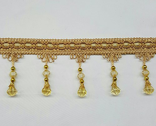 One Yard Of Beaded Curtain Fringe Tassel With Gold Cord in Antique Gold (3' Tassel Trim)