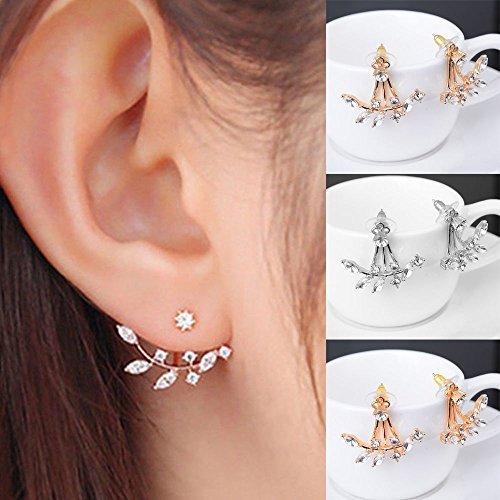 Fashion Silver Plated Leaf Crystal Ear Jacket Double Sided Swing Stud Earrings Gift (Crystal Leaf)