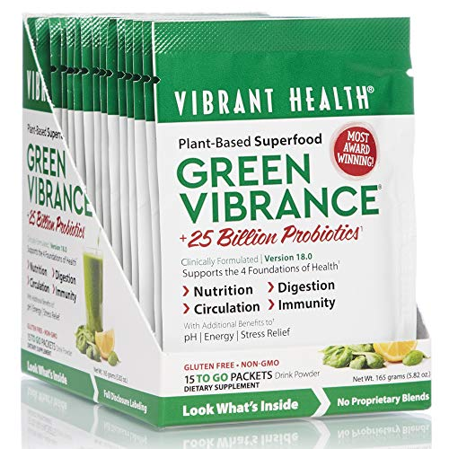 Vibrant Health - Green Vibrance, Plant-Based Superfood to Support Immunity, Digestion, and Energy with Over 70 Ingredients, 25 Billion Probiotics, Gluten Free, Non-GMO, Vegetarian, 15 ()