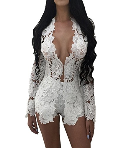 (Women 2 Pieces Outfit Lace Crochet Sheer Open Front Cardigan with Shorts Set (XXL, White))
