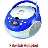 Switch Adapted Toy Portable CD Player - Blue&Silver | Adaptive Toys | Special Needs Switch Toys | Switch Toys