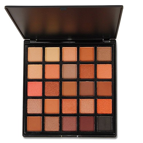 25 Colors Matte & Shimmer Eyeshadow Palette, Highly Pigmented Smoky Warm Color Eye Shadows Nature Makeup Nude Earth Waterproof Cosmetics (Dramatic Eyeliner For Halloween)