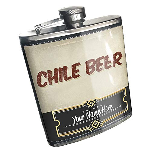 Neonblond Flask Chile Beer, Vintage style Custom Name Stainless Steel ()