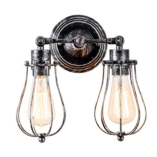 Vintage Wall Lamp Adjustable Industrial Rustic Wall Sconce Wire Cage Wall Light Retro Style Indoor Lighting Fixture ;Moonkist (with 2 Light) (Oil Rubbed Silver) by Moonkist