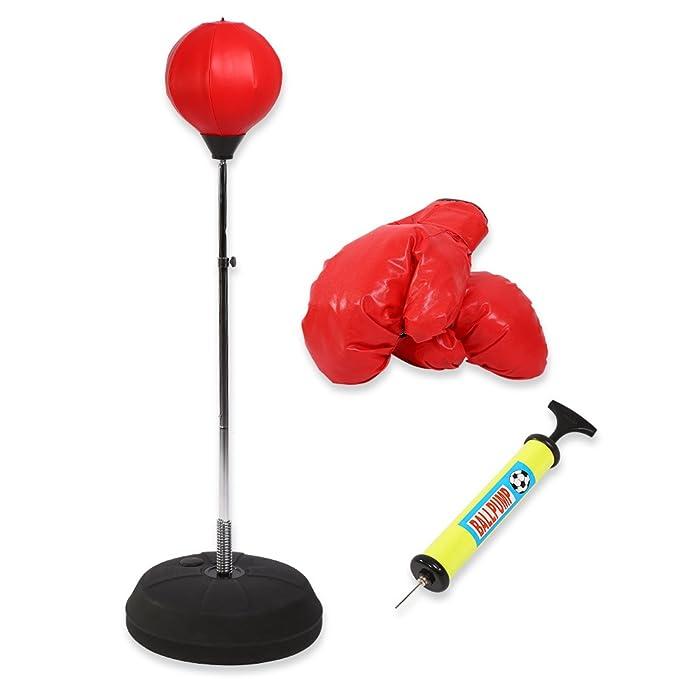 Punching Bag, altura ajustable de pie bola de velocidad de boxeo bola bolsa saco de boxeo con guantes y mitones Bomba para adultos y niños
