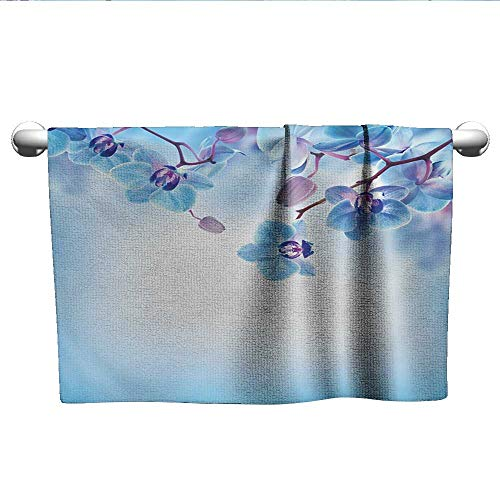 - alisoso Flower,Decorative Towels Orchids Asian Natural Flowers Reflections on The Water for Spring Calming Art Beach Towels Blue and Purple W 28