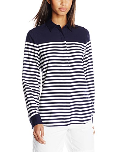 Lacoste Women's Long Sleeve Twill Placement Stripe Slim Fit Woven Shirt, Aquatic Blue/White, 34