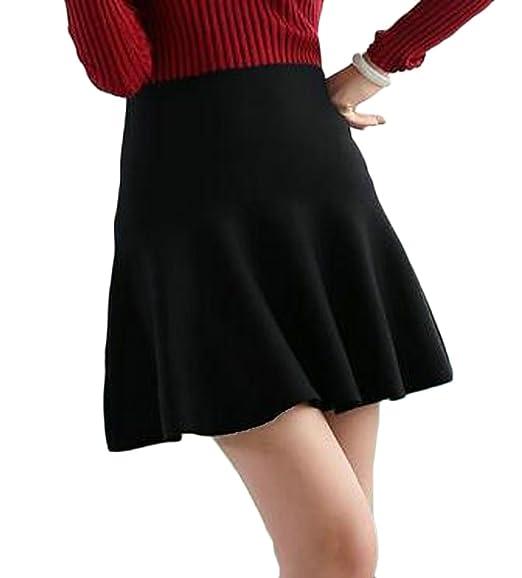 6cf830286918 Nanquan Women Sexy High Waist A-Line Pleated Knit Flared Mini Skater Skirt  Black OS