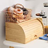 Betwoo Natural Wooden Roll Top Bread Box Kitchen Bamboo Storage Bin (Big Size Self assembly)