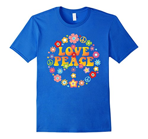 Mens PEACE SIGN LOVE T Shirt 60s 70s Tie Die Hippie Costume Shirt 2XL Royal Blue (1960s Hippie Fashion)
