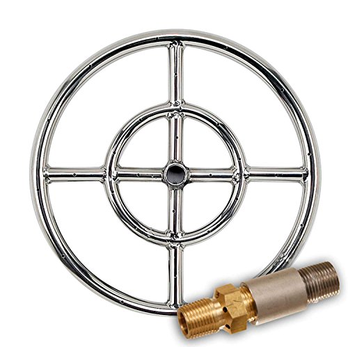 American Fireglass Round Stainless Steel Fire Pit Burner (SS-FR-12-LP), Propane, 12-Inch ()