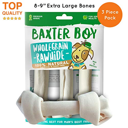 """Baxter Boy Premium Rawhide Bones for Dogs Natural Chews Extra Thick Treat – Extra Large 8""""– 9"""" (3 Pack)"""