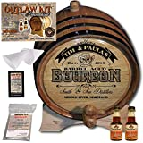 Personalized Whiskey Making Kit (102) - Create Your Own Spiced Bourbon Whiskey - The Outlaw Kit from Skeeter's Reserve Outlaw Gear - MADE BY American Oak Barrel - (Oak, Black Hoops, 2 Liter)