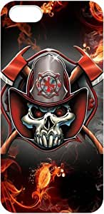 Firefighter Emblem Iphone 5 Case IAFF Fire Fighter With Fire Skull Cases Cover Red at abcabcbig store