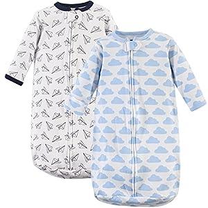 Hudson Baby Unisex Baby Safe Sleep Wearable Long-Sleeve Sleeping Bag, Airplanes 2-Pack, 0-3 Months (3M)