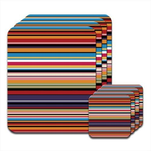 Modern Stripes Brown Cream Coaster /& Placemat Set