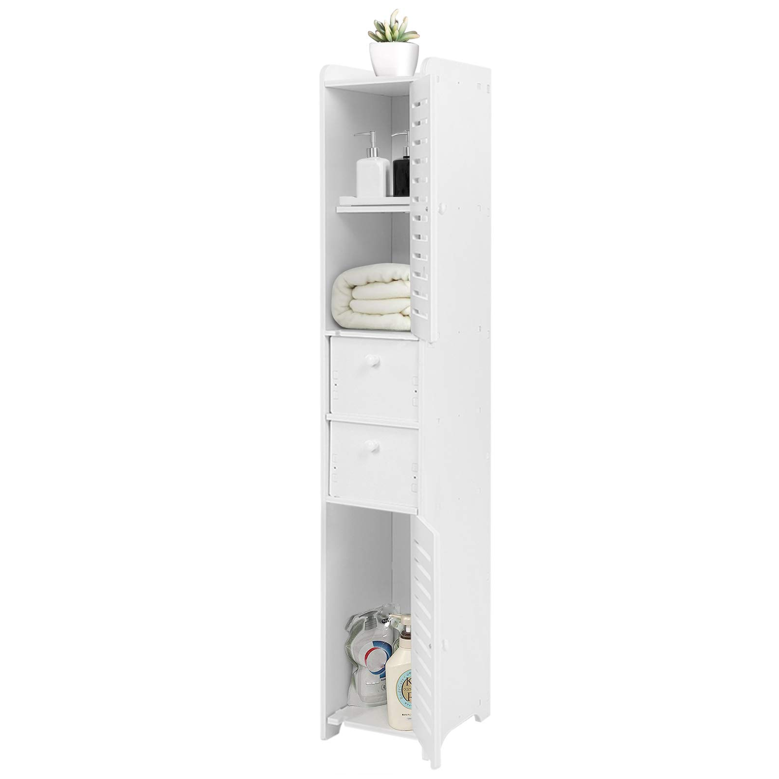 Tall Bathroom Cabinet Bathroom Tallboy Narrow Bathroom Storage Wood Plastic Board Corner Cabinet Bathroom Storage Shelf Rack Organiser Tallboy Unit With 2 Doors 2 Drawers Buy Online In Liechtenstein At Liechtenstein Desertcart Com Productid