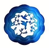 Hummingbirds with Flowers Blue Garden Wind Spinner, Metal Yard Art and Outdoor Decor,12 Inch