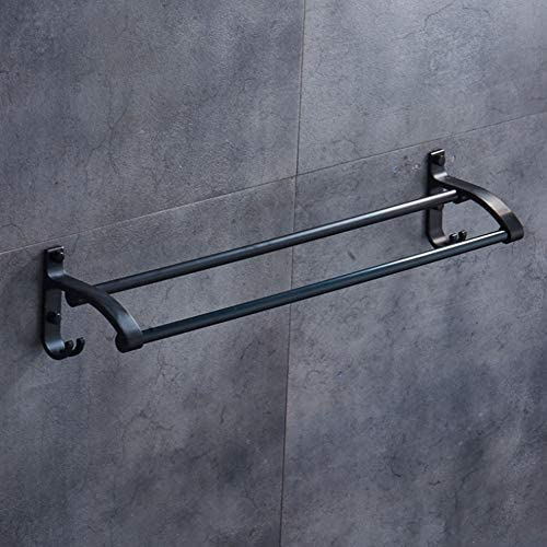 タオル掛けタオルスタンド ホックのアルミ合金の壁に取り付けられたタオル棒60cmが付いている浴室の二重棒タオル掛け