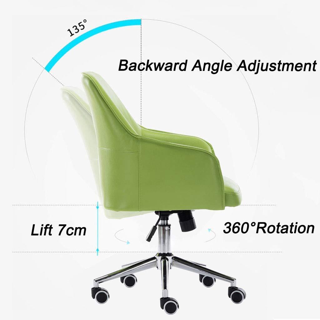 Svängbar stol hem kontor dator skrivbord stol arbetsstol med PU-läder och svamp med hög motståndskraft 360 ° rotation stark belastningslager för sovrum konferensrum Vitt